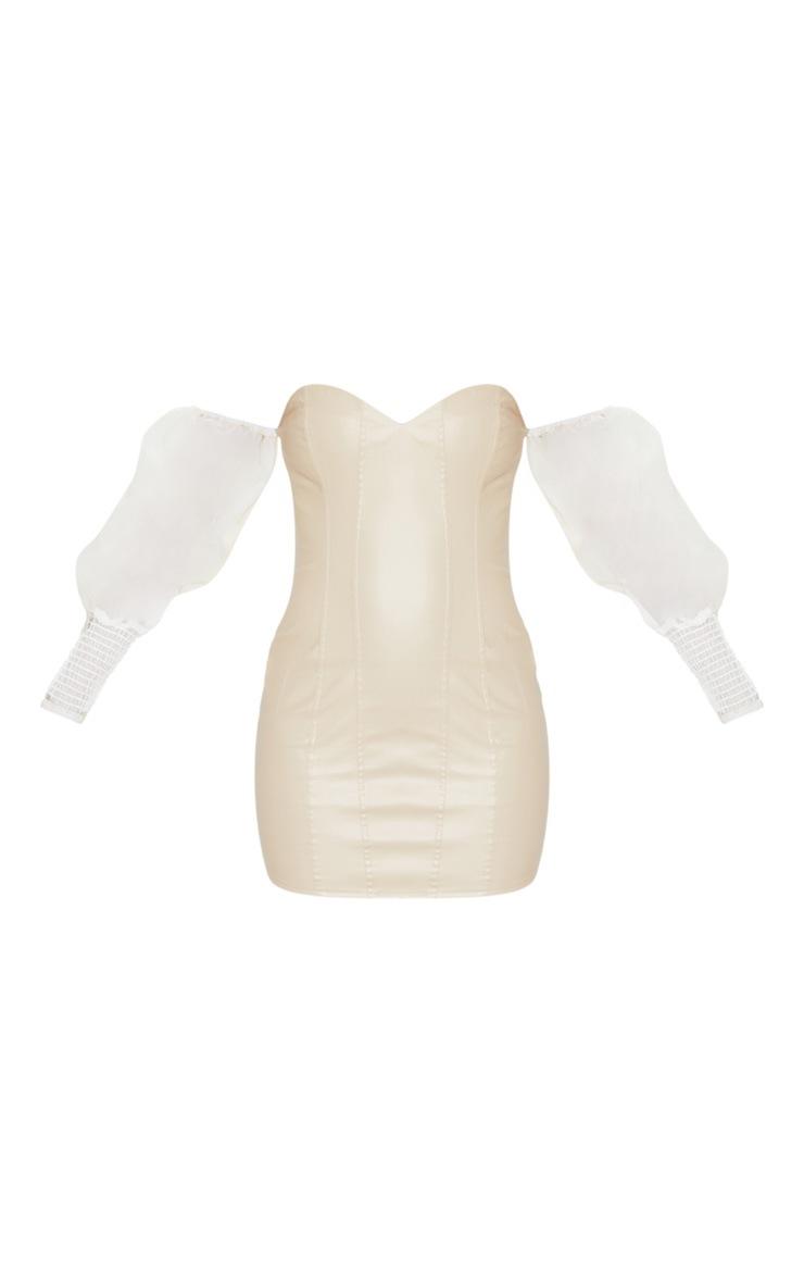 Nude PU Organza Sleeve Bardot Bodycon Dress 3