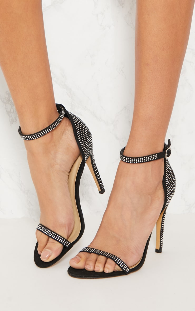 Black Diamante Barely There Heeled Sandal 2