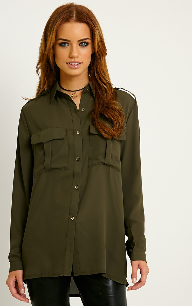 Bethan Khaki Utility Pocket Shirt 1