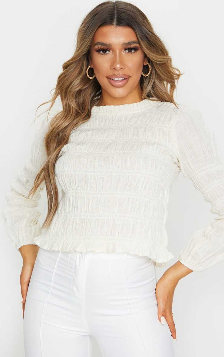 Sand Woven Ruched Top 1