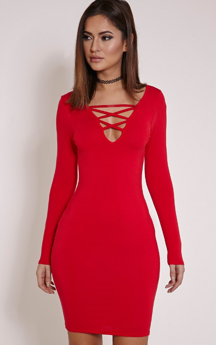 Elli Red Lace up Mini Dress 1