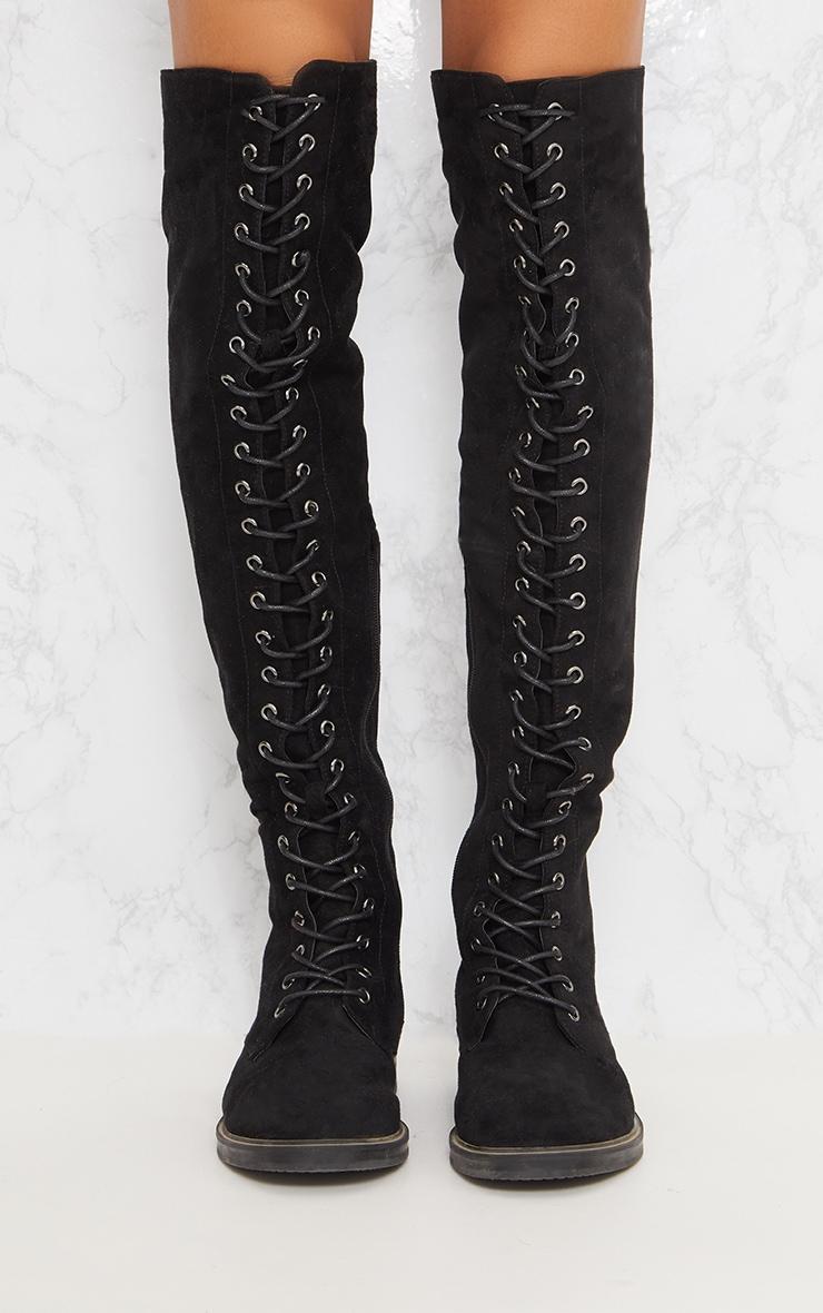 cuissardes noires lacet chaussures prettylittlething fr. Black Bedroom Furniture Sets. Home Design Ideas