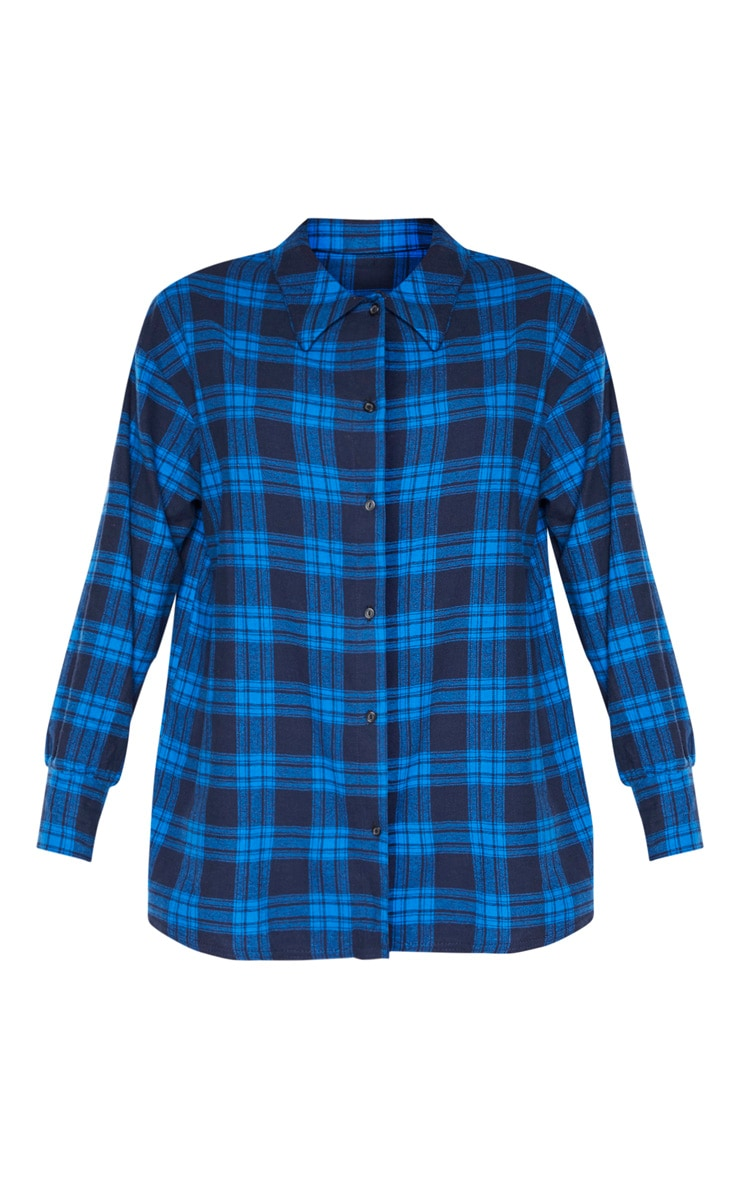 Bright Blue Checked Oversized Shirt 3