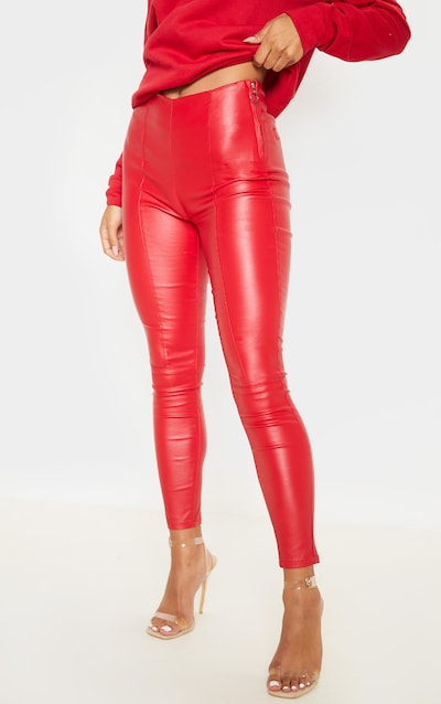 Red Zip Side Coated Jeans