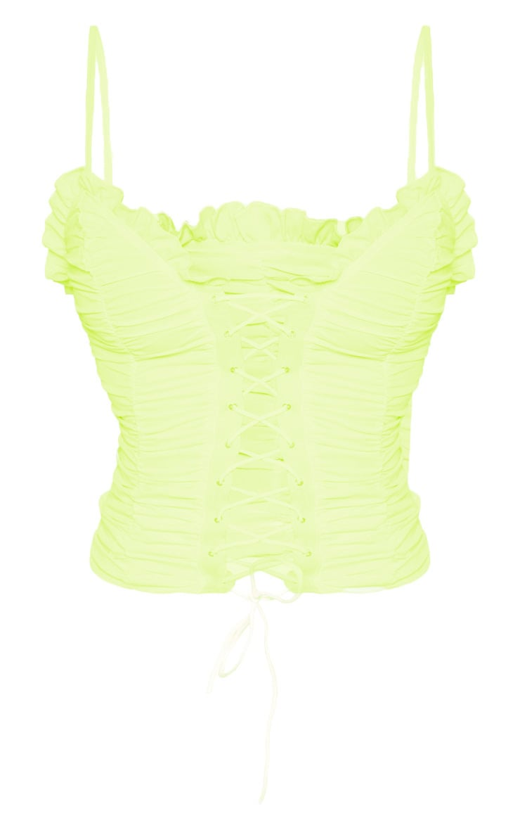 Lime Woven Ruched Lace Up Corset Top 3