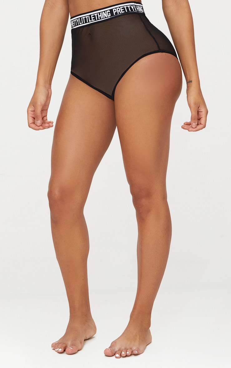 PRETTYLITTLETHING Black Mesh High Waisted Knicker  2