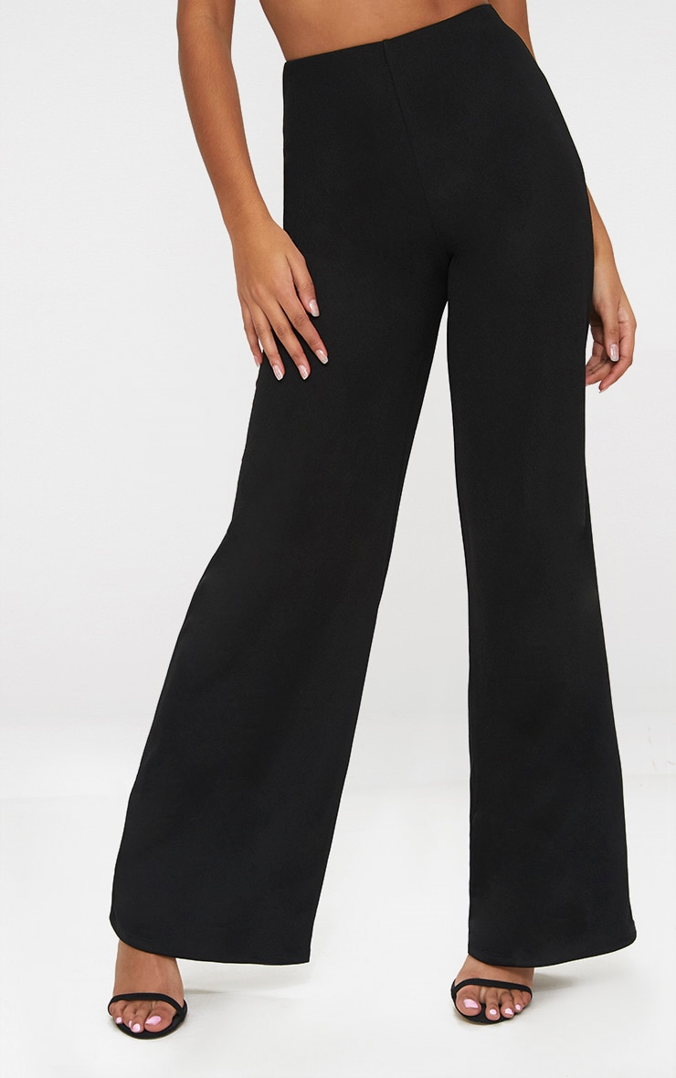 Petite Black Wide Leg Trousers 2
