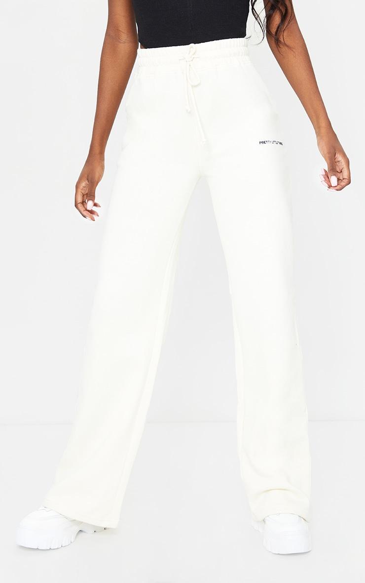PRETTYLITTLETHING Tall Cream Wide Leg Sweat Pants 2
