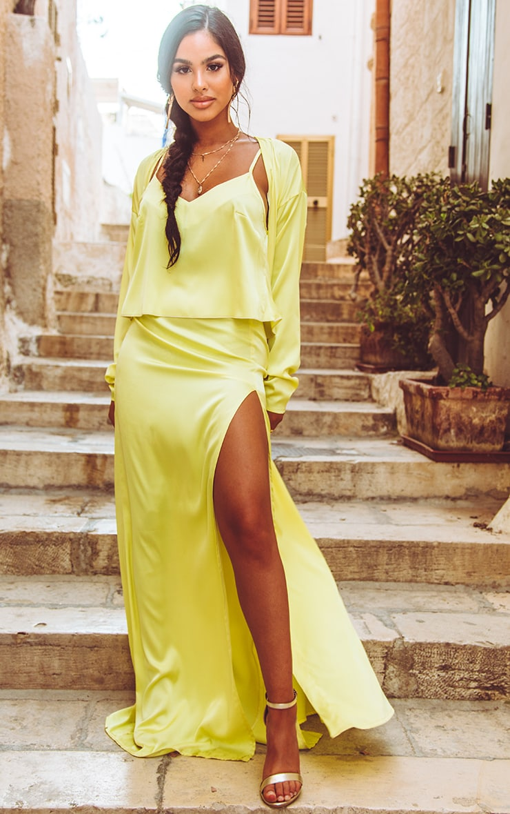 Lime Satin Cami  4