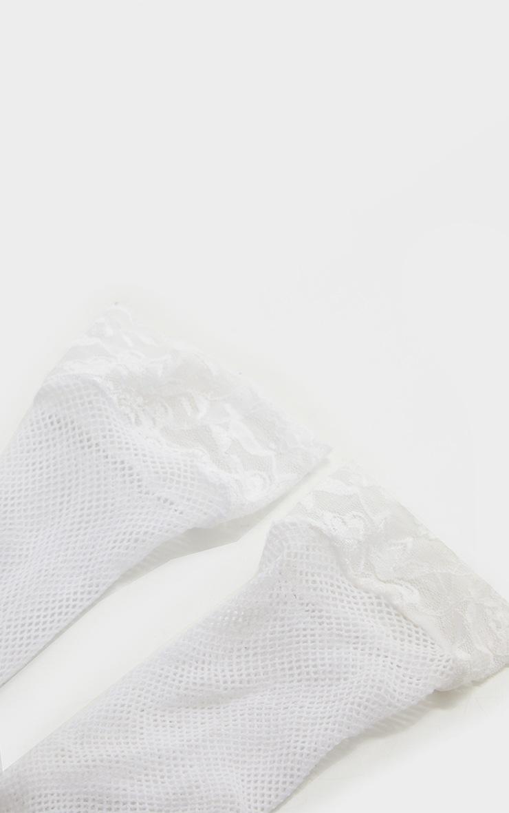 White Fishnet Lace Trim Ankle Socks 3