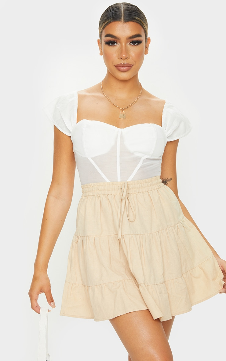 Stone Cotton Drawstring Tiered Skater Skirt 4