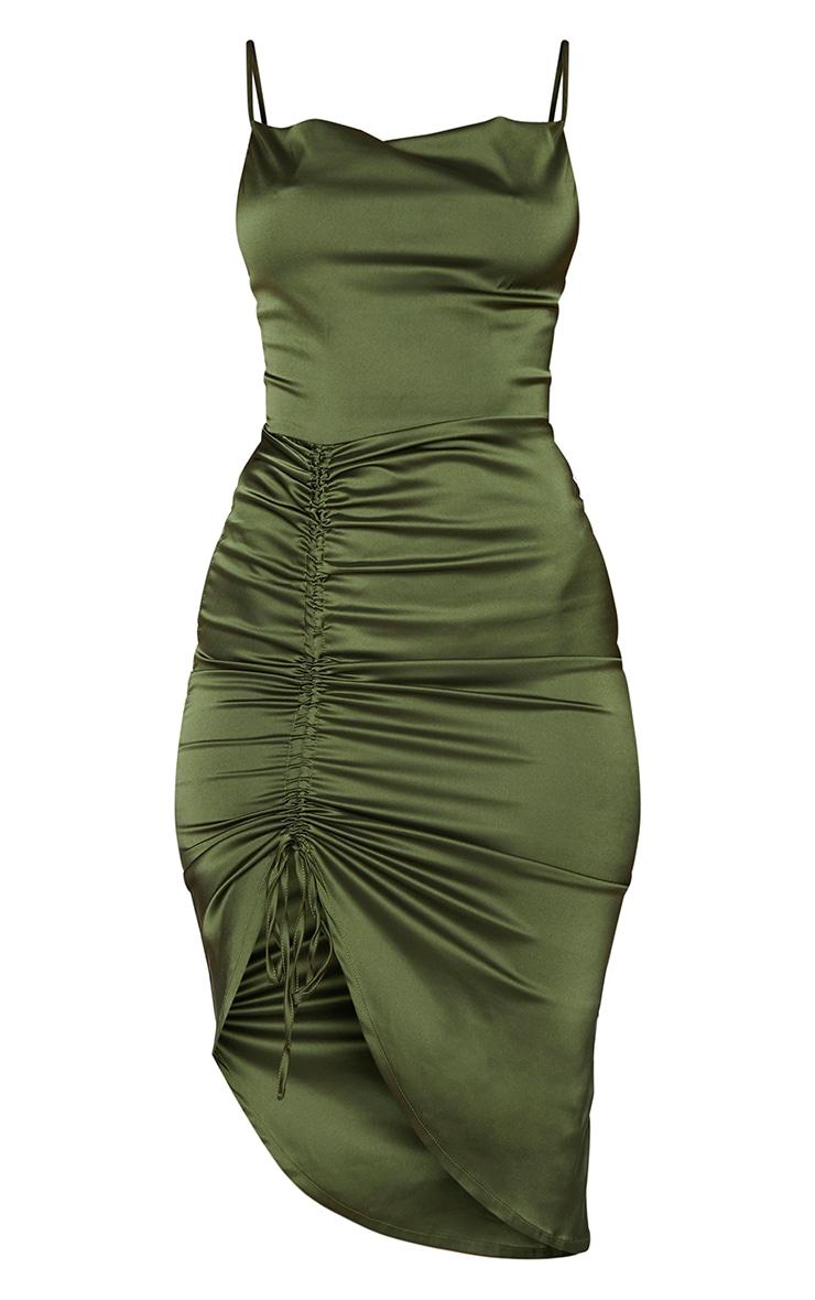 Khaki Satin Strappy Ruched Side Midi Dress 5