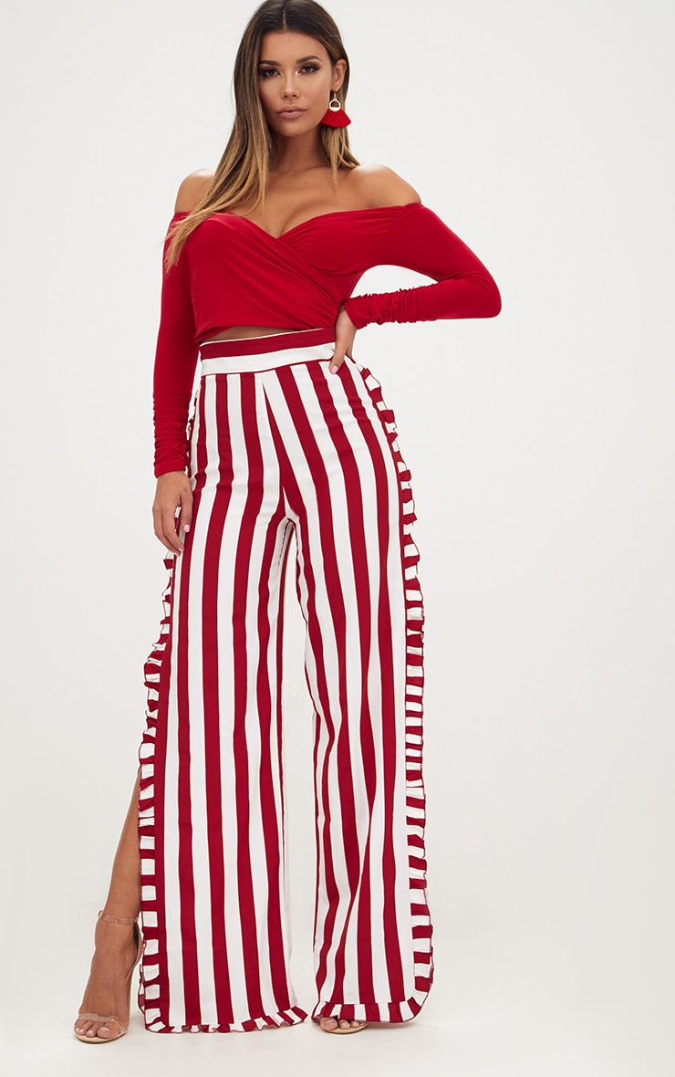 Burgundy Humbug Stripe Frill Split Trousers 1