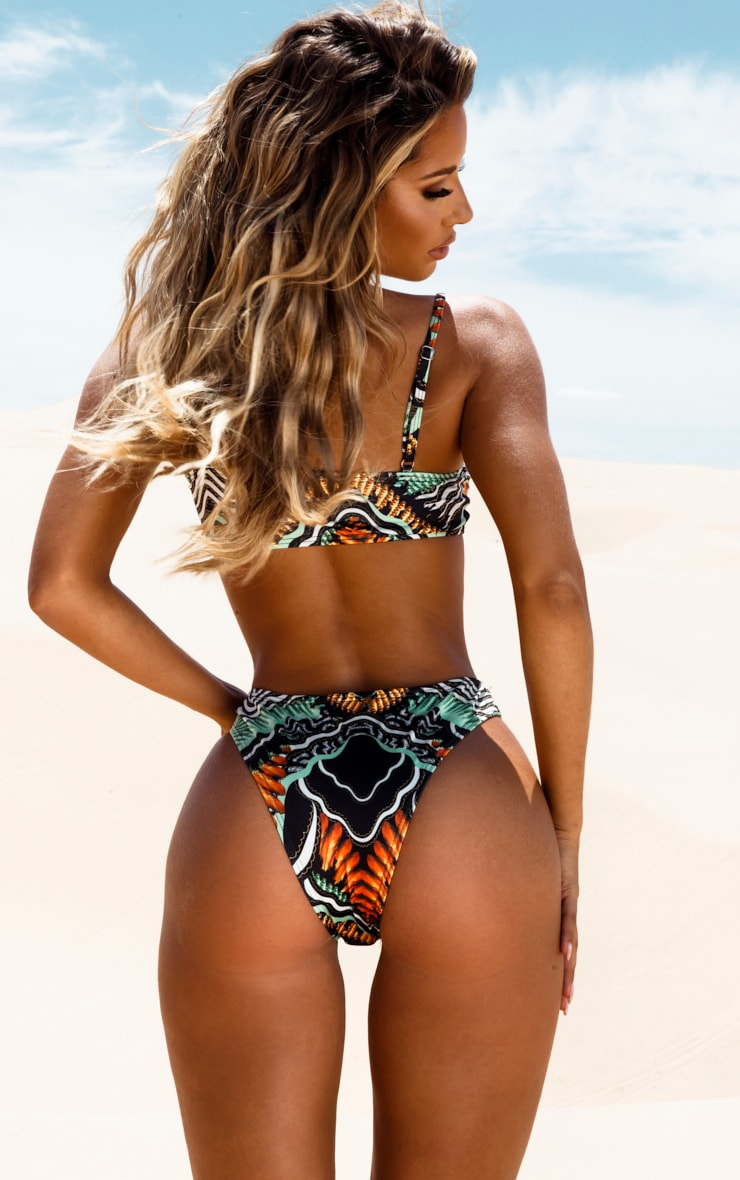 Black Tribal Print High Leg Bikini Bottom 4