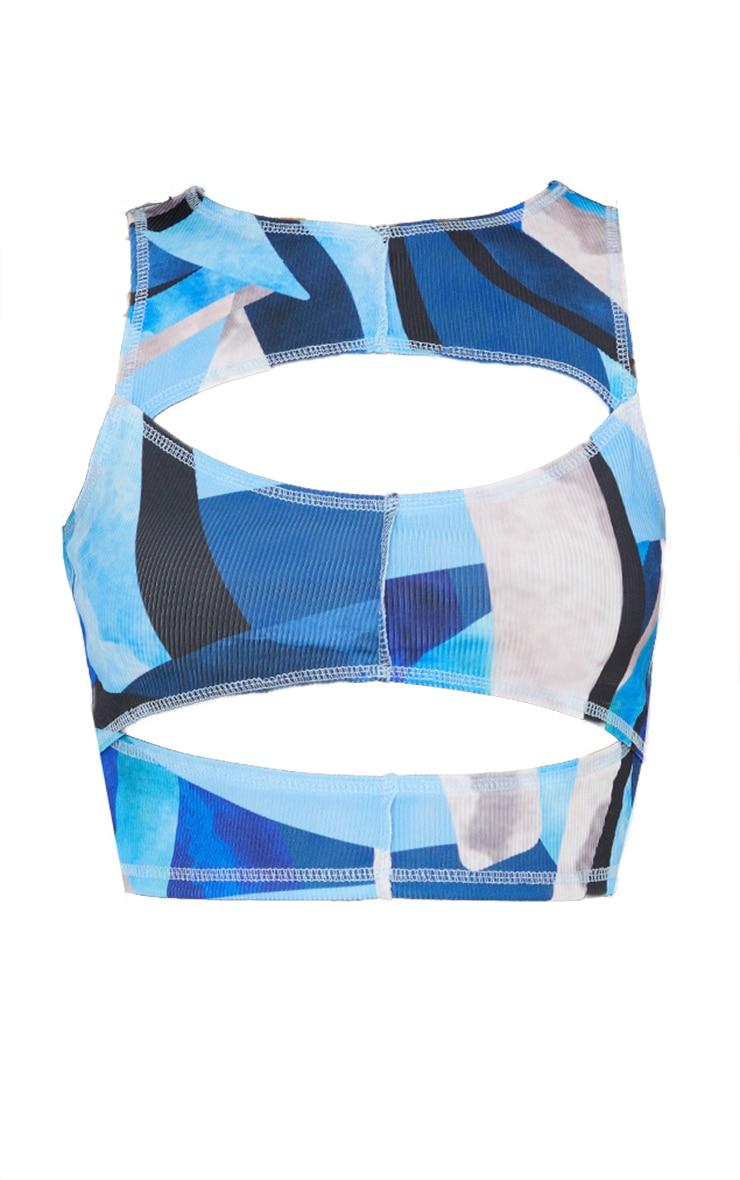 Blue Rib Abstract Print Cut Out Sleeveless Crop Top 5