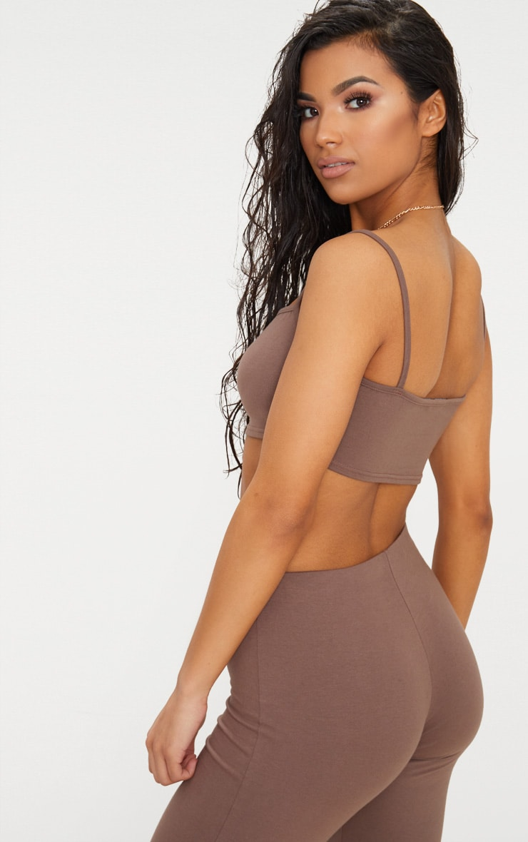 Brown Cotton Stretch Strappy Crop Top  2