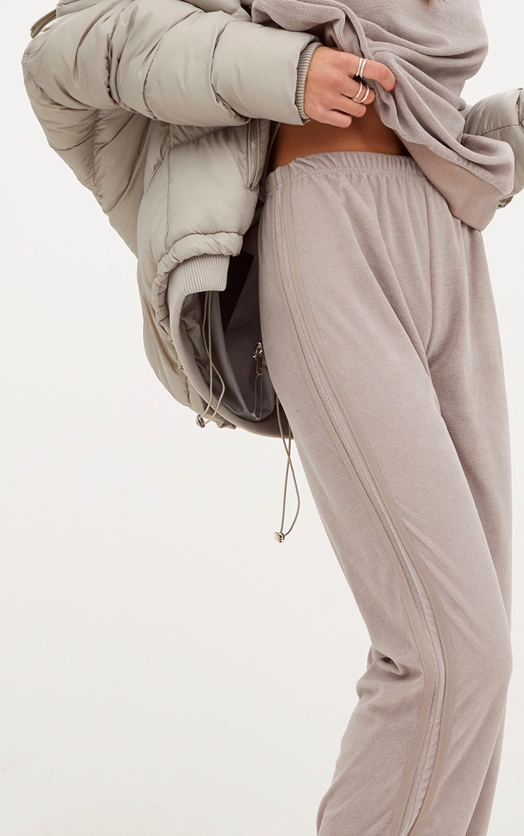 Taupe Velour Side Stripe Joggers  4