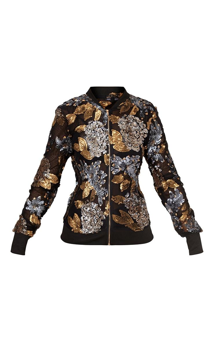Carah Black Mesh Sequin Embellished Bomber Jacket 3