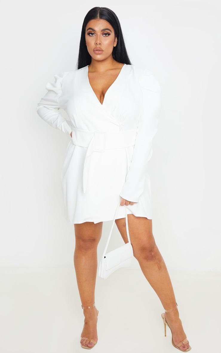 Plus White Puff Sleeve Blazer Dress 1