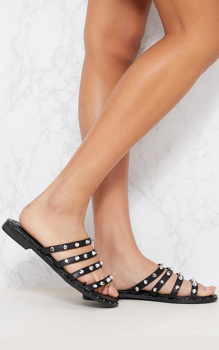 Black Studded Strappy Mule Sandal 1