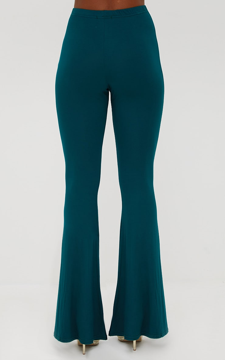 Emerald Green Basic Jersey Flared Pants 4
