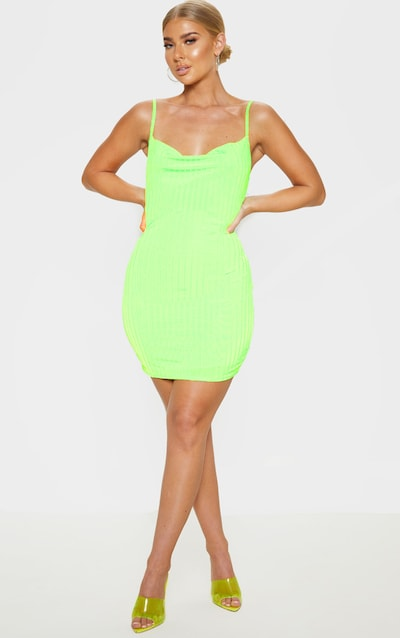 bce05773e1bb Neon Lime Strappy Ribbed Cowl Neck Bodycon Dress