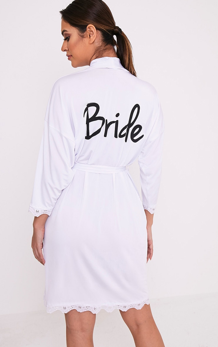 Bride White Slinky Dressing Gown 1