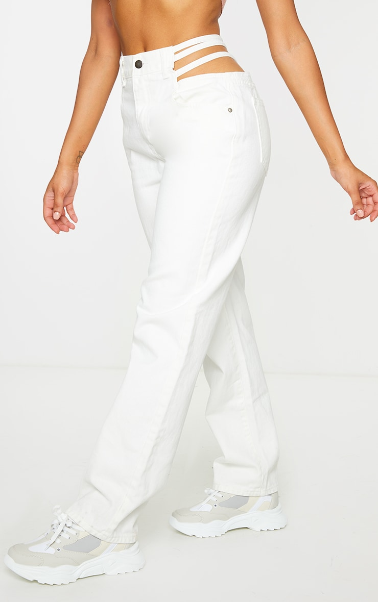 White Strappy Cut Out Hip Straight Leg Jeans 2