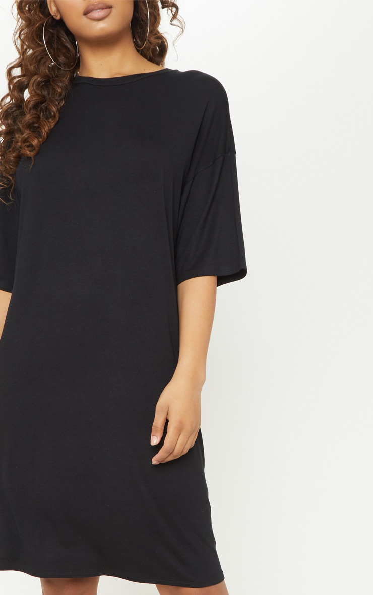 Tall Black Oversized T-shirt Dress 5