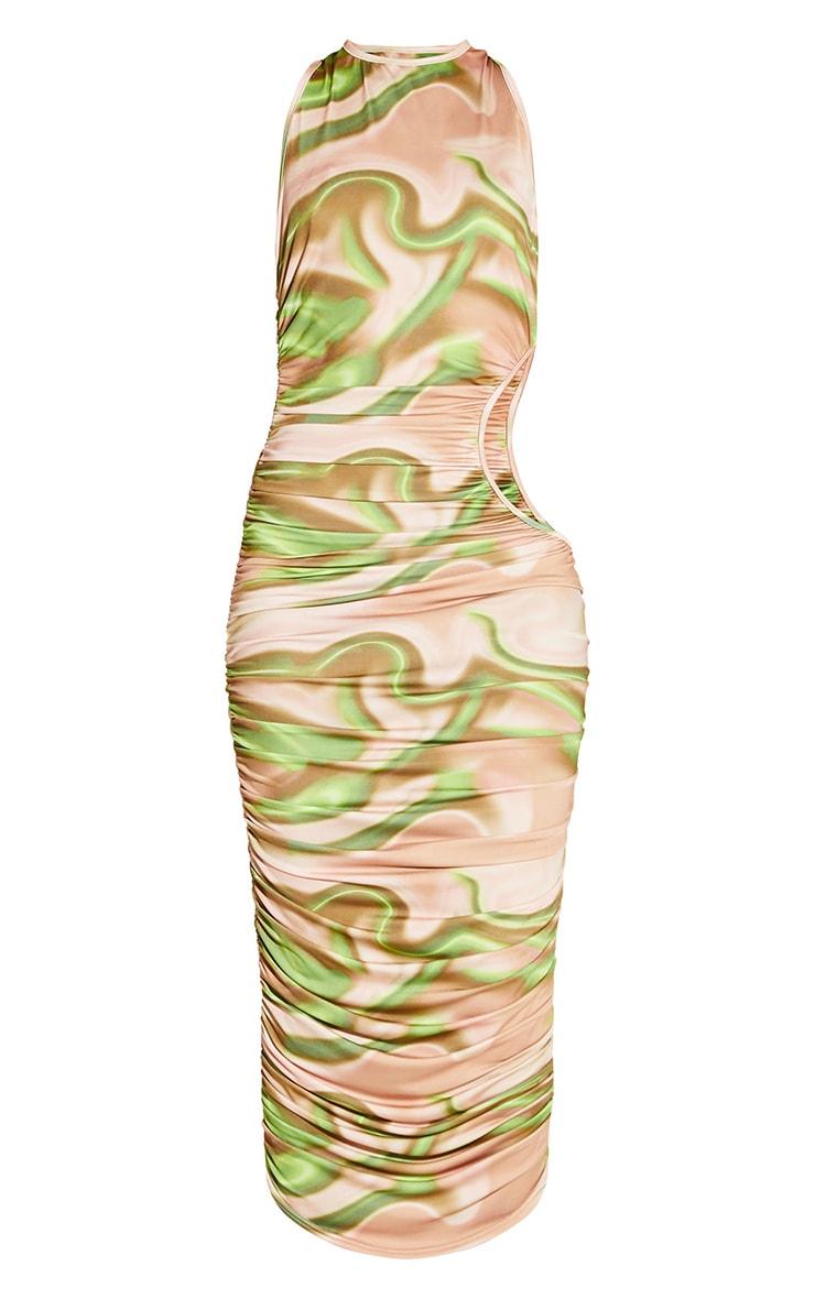 Robe mi-longue imprimée verte à découpes froncée 4