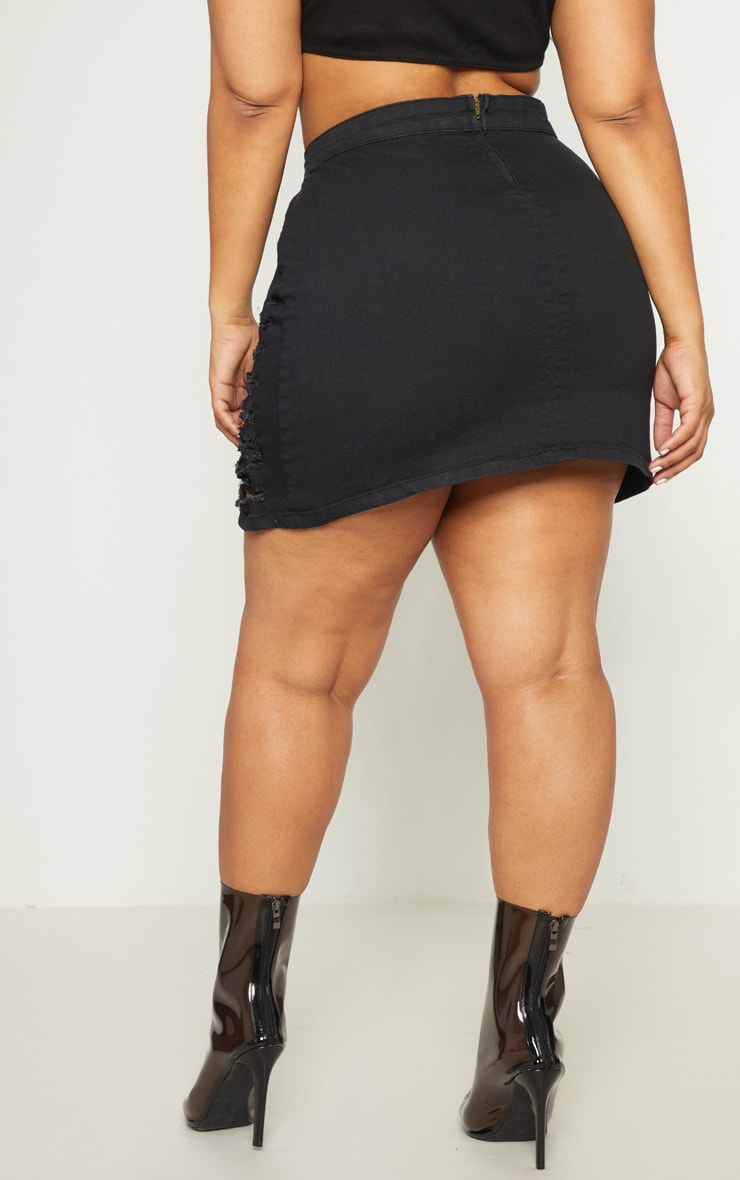 Plus Black Distressed Denim Mini Skirt 4