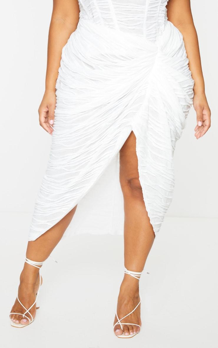 Plus White Textured Ruch Side Midi Skirt  2