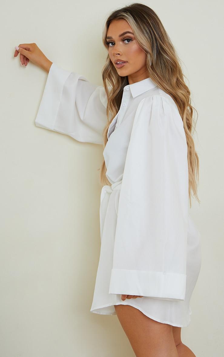 White Flare Puff Sleeve Tie Waist Shirt Dress 2