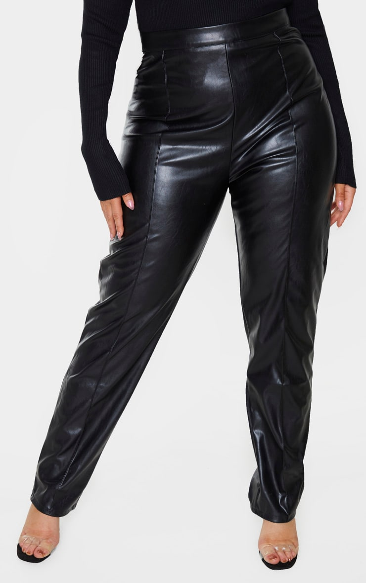 Plus Black PU Seam Detailed Straight Leg Pants 2