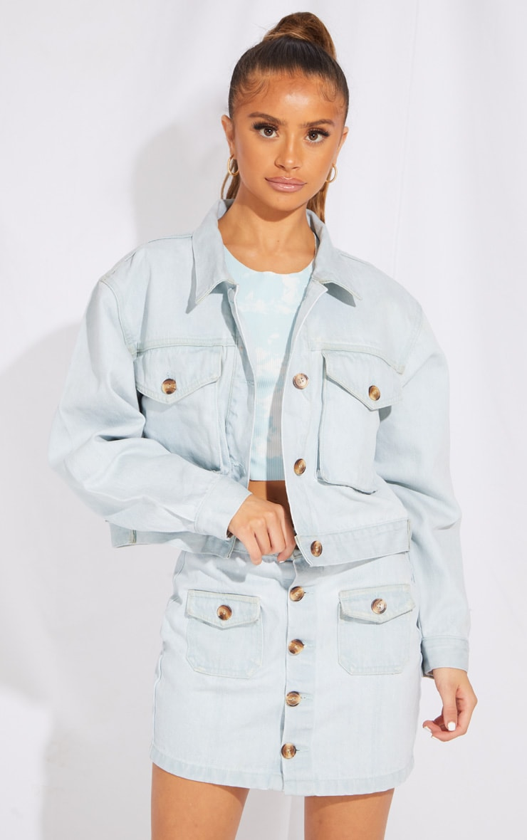 Petite Bleach Wash Oversized Denim Trucker Jacket 1