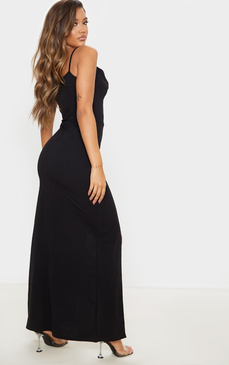 Black Asymmetric Cowl Neck Maxi Dress 2