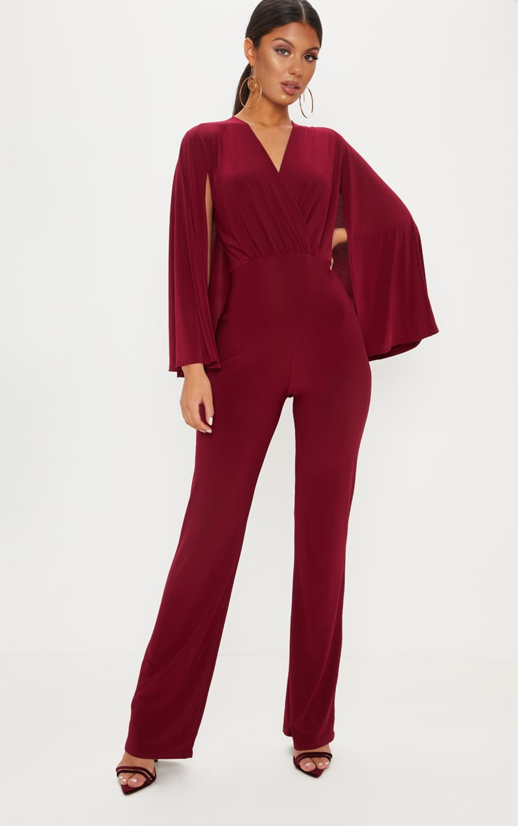 Burgundy Plunge Cape Detail Wrap Jumpsuit