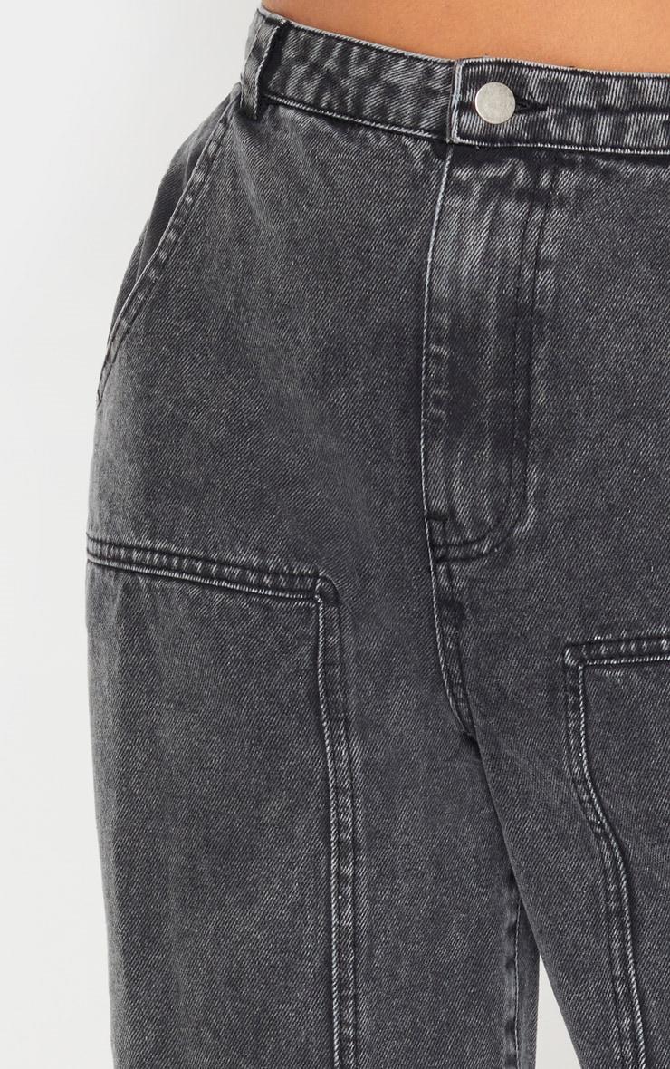 Washed Grey Baggy Cargo Boyfriend Jeans  5