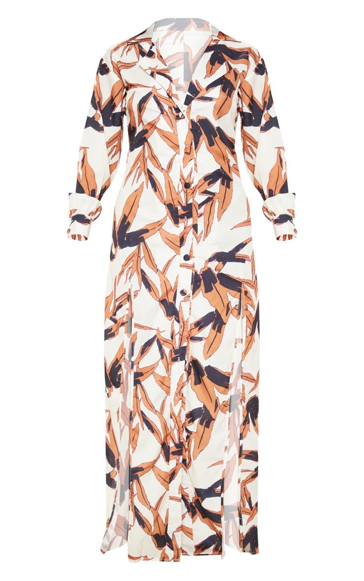 White Tropical Print Split Front Maxi Shirt Dress 3
