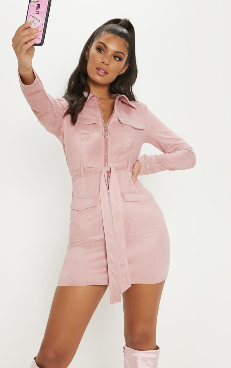Rose Pink Faux Suede Pocket Detail Bodycon Dress 1