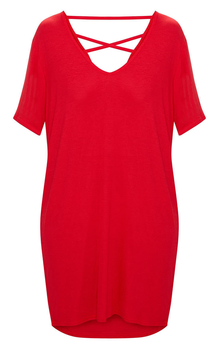 Red Jersey Back Strap Detail T Shirt Dress 3