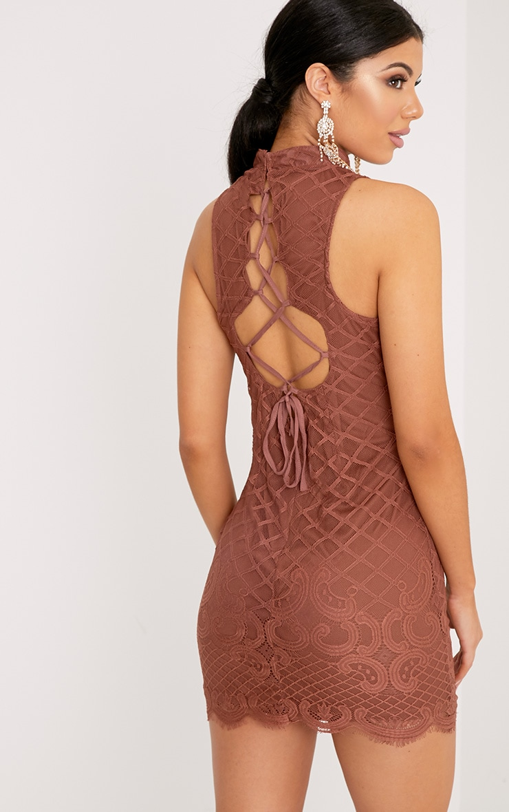 Aura Tobacco Lace Up Back Bodycon Dress 2