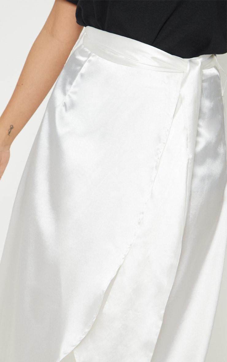 Petite White Satin Wrap Midi Skirt 5