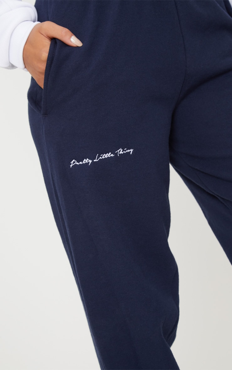 PRETTYLITTLETHING Navy Embroidered Jogger 5