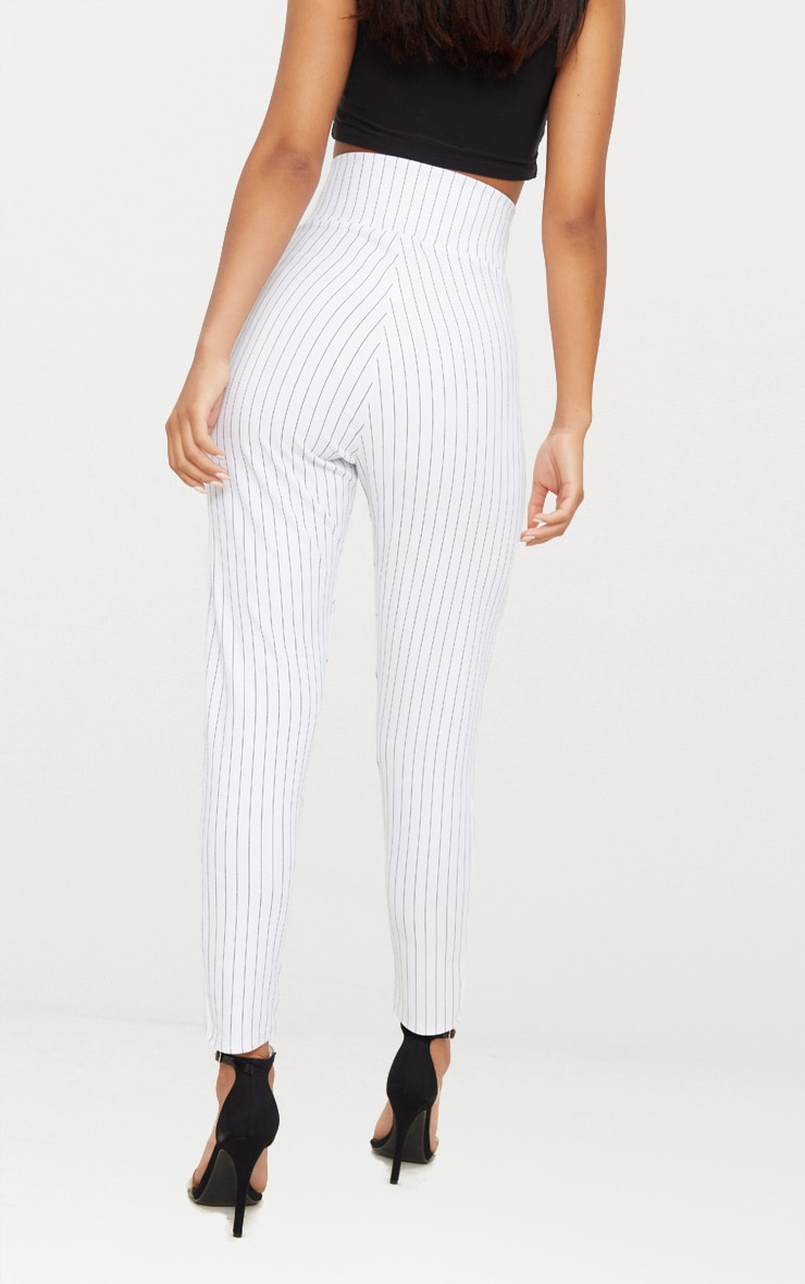 White Pinstripe Cut Out Waist Skinny Trousers  3