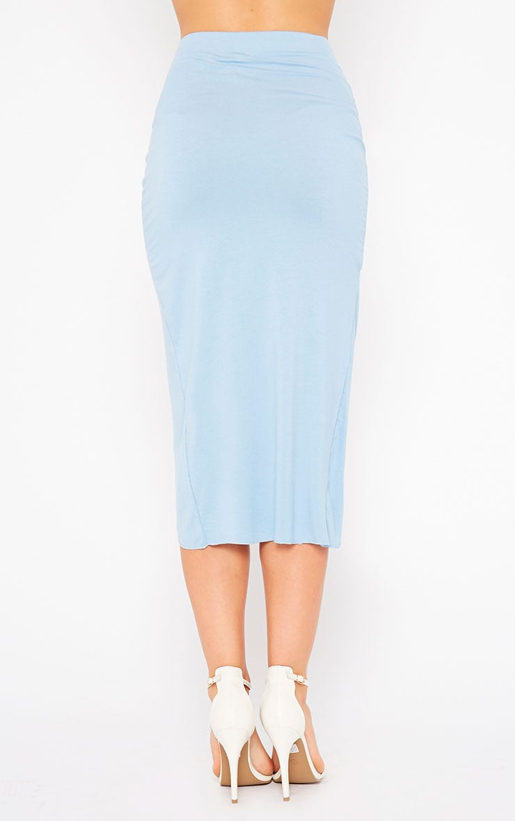 Ivana Powder Blue Drape Midi Skirt 4