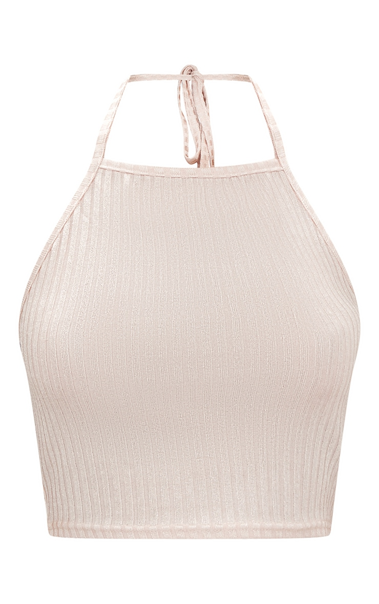 Nude Ribbed Shine Halterneck Crop Top 3