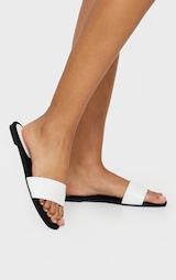 White Single Strap Mule Sandal 1