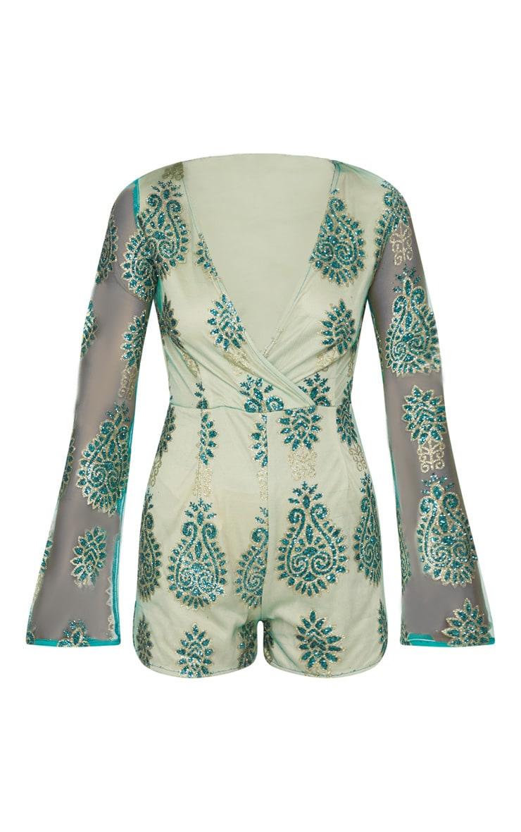 Green Glitter Paisley Flared Sleeve Playsuit 3