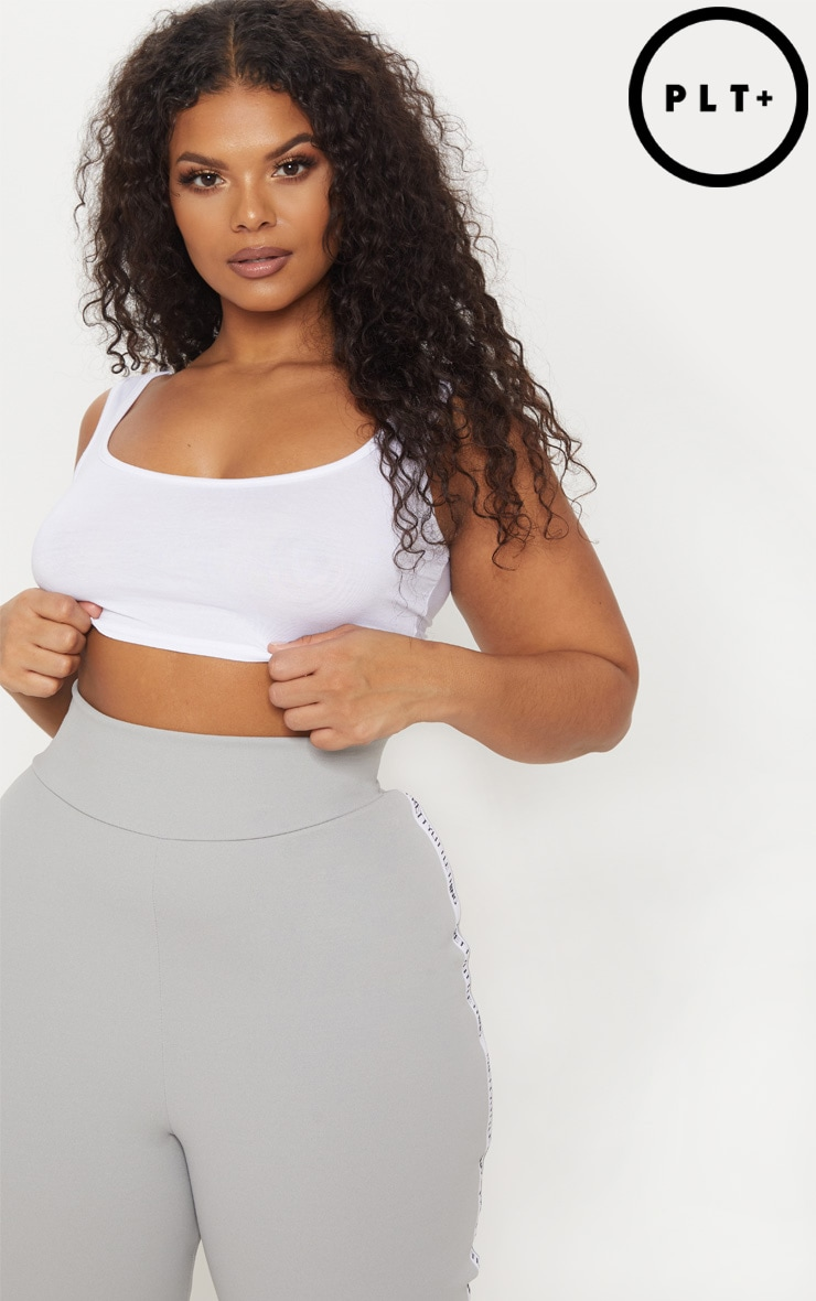 Plus Basic White Scoop Neck Crop Top